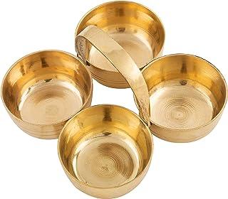 Shubhkart Choumukha, Handmade Kankavati Muti-Purpose Brass Puja Holder, Four-In-One Kankavati Set