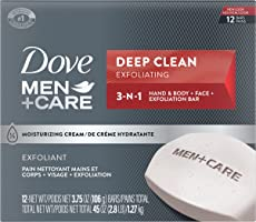 Dove Men+Care Body and Face Bar Soap for Healthy and Strong Skin, Deep Clean, Mens Soap With ¼ Moisturizing Cream 106 g...
