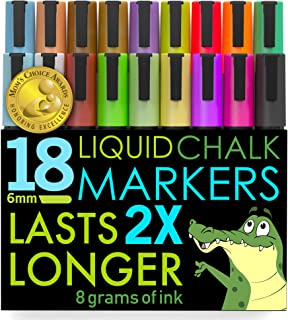 Crafty Croc Liquid Chalk Markers, Jumbo 18 Pack, (Mom's Choice Award Gold Recipient), Neon Plus Earth Colors 6mm Reversibl...