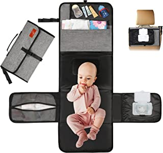 Portable Diaper Changing Pad, TOPGOOSE Large Capacity Baby Diaper Changing Mat with Waterproof & Easily Cleanable Folding ...