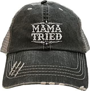 Adult Mama Tried Embroidered Distressed Trucker Cap