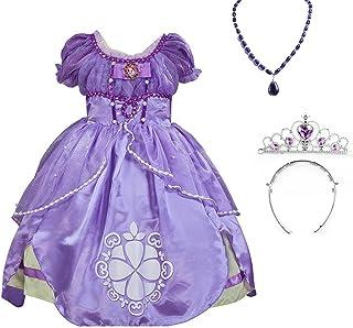【Prin-castle】プリン-カステル 子供ドレス キッズ 子ども お姫様 ワンピース なりきり ちいさなプリンセス ソフィア ドレス、ティアラ、ネックレス メッセージカード4点セット かわいいドレス子供 誕生日プレゼント
