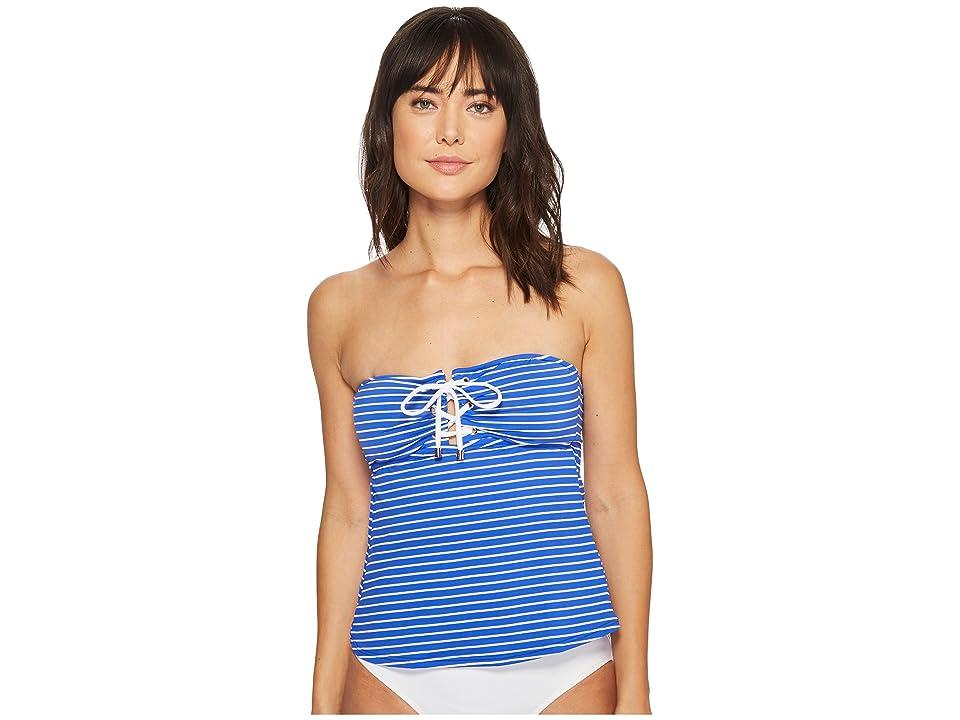 Polo Ralph Lauren Resort Stripe Laced Tubini Top (Blue) Women