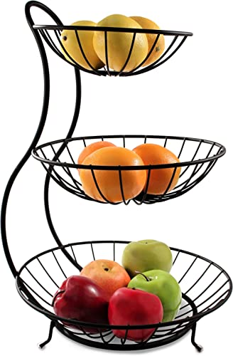 Spectrum Diversified Yumi Arched Server Stacked, 3-Tier Bowls, Dining Table & Kitchen Counter Organizer, Modern Fruit...