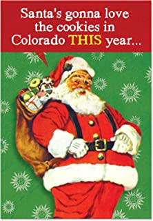 12 'Colorado Cookies' Boxed Christmas Cards with Envelopes 4.63 x 6.75 inch, Funny Stoner Christmas Cards, Hilarious Pot Jokes Holiday Cards, Silly Santa and Weed Cards, Drug Humor B1833