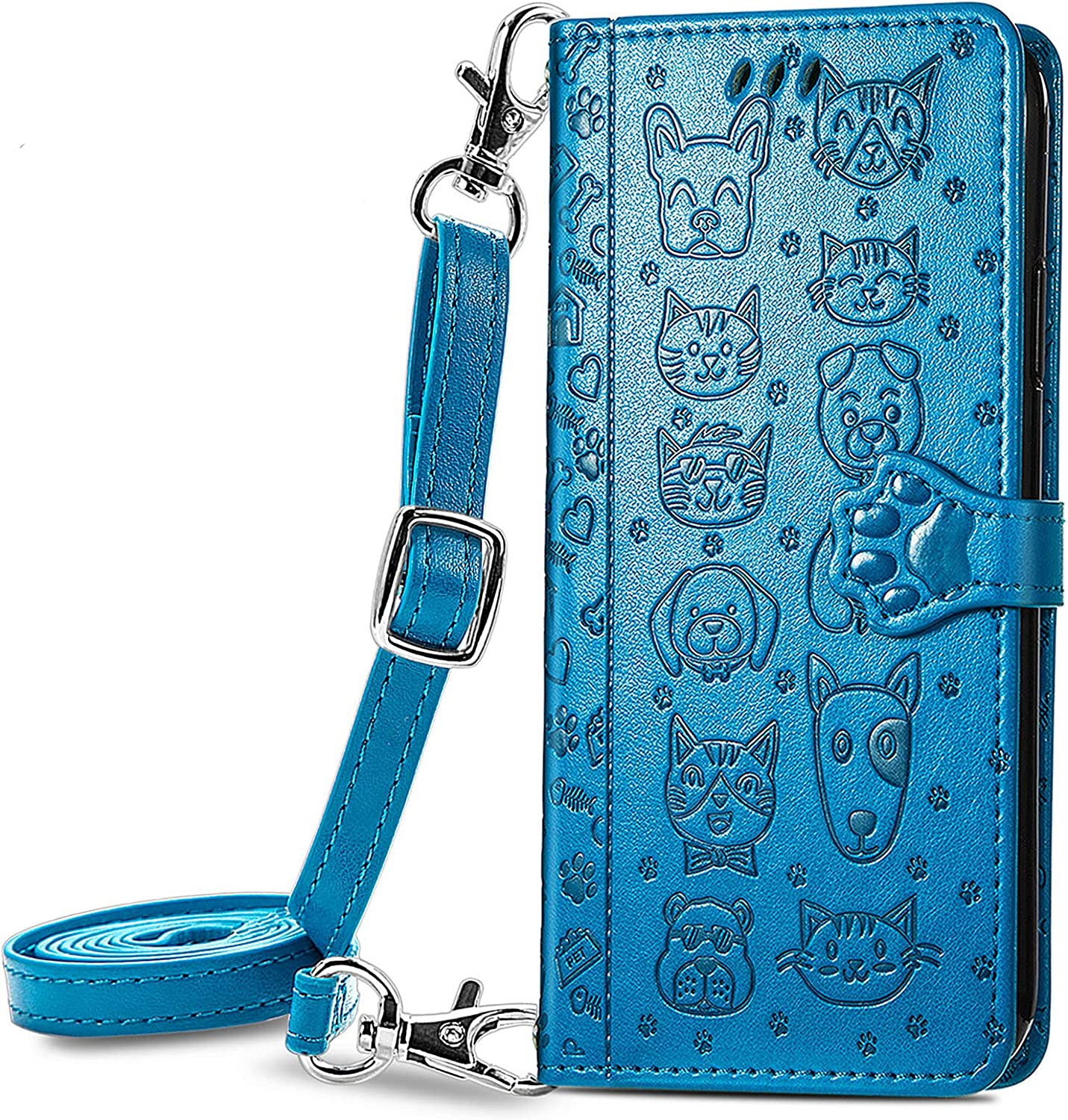 DAMONDY for Galaxy Z Fold 3 Case,3D Cartoon Leather Wallet Case with Lanyard Strap Designs for Girls Women,with Kickstand Card Slots Cover Phone Case for Samsung Galaxy Z Fold 3 5G -Blue