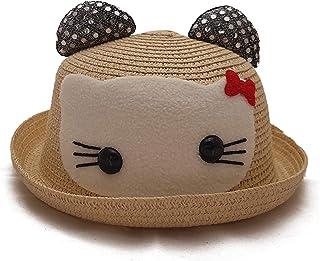 VRITRAZ Boy's and Girl's Printed Cartoon Straw Fashion Glitter Hat (Beige)