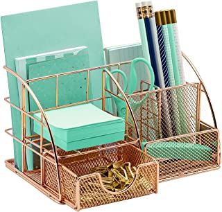 Sorbus Desk Organizer, All-in-One Stylish Mesh Desktop Caddy Includes Pen/Pencil Holder, Mail Organizer, and Sliding Drawe...