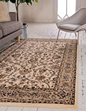 Unique Loom Kashan Collection Traditional Floral Overall Pattern with Border Ivory Area Rug (4' 0 x 6' 0)