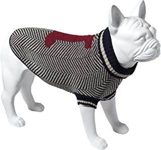 Eco Pet Recycled Cotton Dog Sweater - Medium/Navy with Red Bone