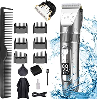 Hair Clippers for Men, POLENTAT Cordless Rechargeable Grooming Kit Professional Hair Trimmer Waterproof for Hair Cutting, ...