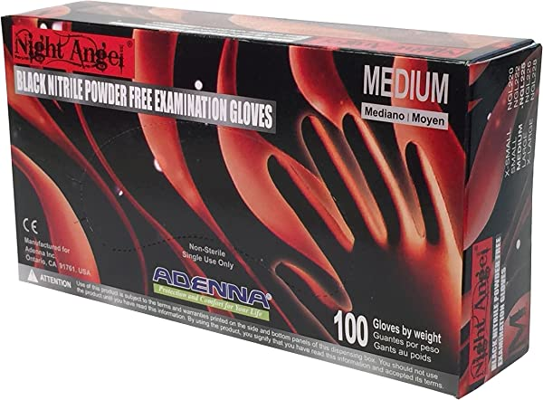 Adenna Night Angel 4 Mil Nitrile Powder Free Exam Gloves Black Medium Box Of 100