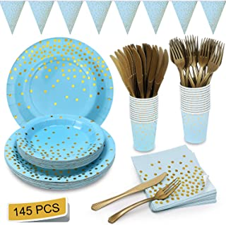 Blue and Gold Party Supplies Golden Dot Navy Themed Party Set Includes Paper Plates Napkins Knives Forks Cups Banner for Baby Shower, Boy Birthday, Serves 24