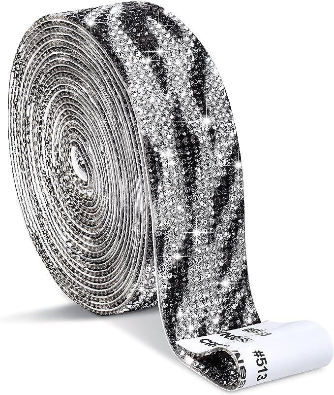 Self Adhesive Crystal Rhinestone Diamond Ribbon DIY Decoration Sticker with 2 mm Rhinestones for Arts Crafts, DIY Event Car Phone Decoration (1.06 Inch x 3 Yards,Black and White)