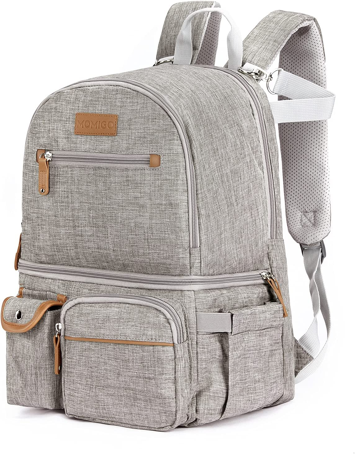 MOMIGO Breast Pump Backpack - Cooler and Moistureproof Bag Double Layer for Mother Outdoor Working Backpack with 13 Inch Laptop Compartment Fit Most Breast Pumps (Grey)