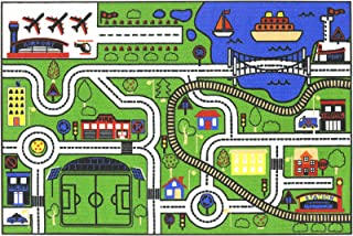 Antep Rugs Joyful Collection City Road Map Non-Skid (Non-Slip) Low Profile Pile Rubber Backing Kids Educational Mat Carpet Playmat Play Room Rug (3'3