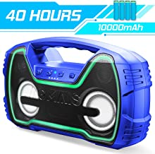 Portable Bluetooth Speakers, AOMAIS 40-Hour Playtime Outdoor/Indoor Wireless Speaker with 10000mAh Battery, 25W Loud Deeper Bass, IPX7 Waterproof,TWS,LED Lights for Home Party, Beach[2019 Newest]-Blue