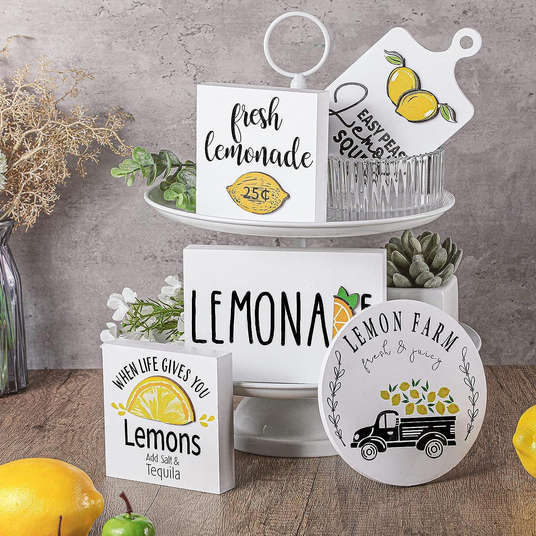 Set of 5 Fresh Lemonade Wooden Tiered Tray Decor Lemon Rustic Farmhouse Lemon Theme Signs Summer Tier Tray Decor Lemon Drops Handmade Home Kitchen Signs Favor