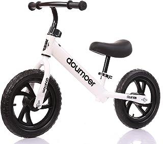 DOMOER Unisex Baby Pedals Kids Balance Bike, White, Size S