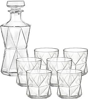 Bormioli Cassiopea Whiskey Set (Decanter + Rocks), 28.75 oz/11.25 oz, Clear