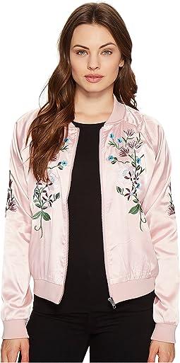 Flower Embroidered Varsity Jacket