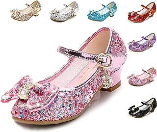 Girls Dress Shoes Wedding Party Heel Mary Jane Princess Flower Shoes (Toddler/Little Kid/Big Kid)