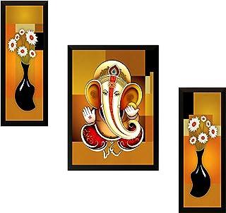 SAF UV Textured Ganesh Modern Art Print Framed Painting Set of 3 for Home Decoration – Size 35 x 2 x 50 cm SANFSA7515