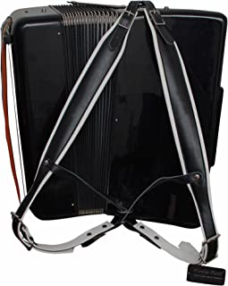 MUSIC FIRST Black & White Genuine Leather Super Wide & Thick Comfortable 96 120 BASS Accordion Shoulder Strap Set Accordion Belt Accordion Straps