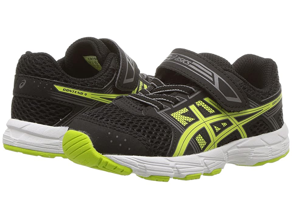 ASICS Kids Pre-Contend 4 TS (Toddler) (Black/Neon Lime) Boys Shoes