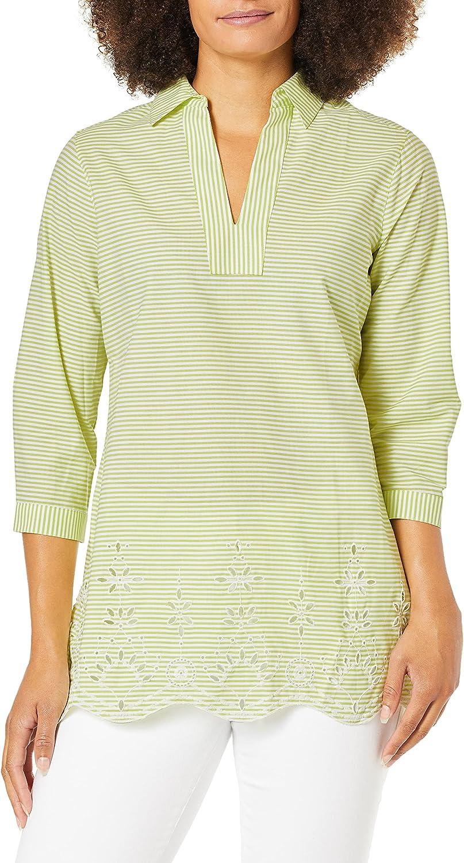 Foxcroft Women's Costa Stripe Tunic Embroidery Finally popular brand 1 year warranty