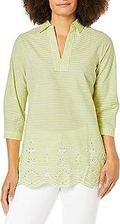Foxcroft womens Costa Stripe Embroidery Tunic Tunic Shirt