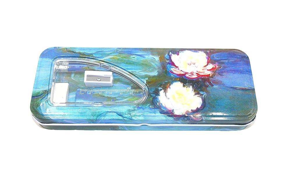 DaHo Tin Pencil Case with Pencils, Ruler, Eraser and Sharpener inside (Les Nymphéas)