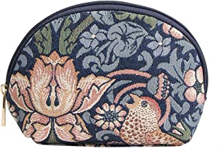 Blue Floral William Morris Strawberry Thief Tapestry Makeup Bag Travel Cosmetic Bag Brush Bag for Women Girls by Signare (...