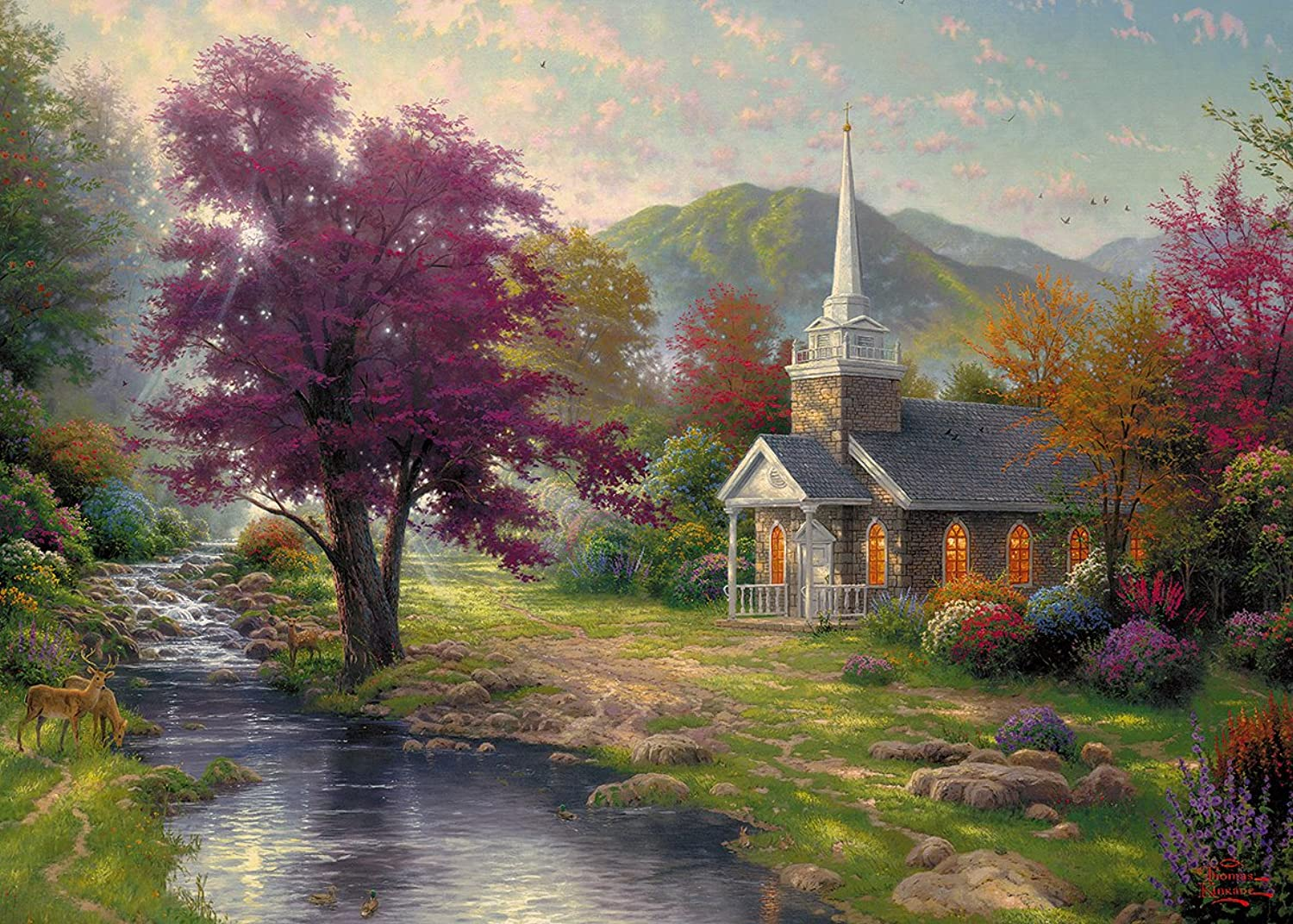 Gibsons Streams of Living Water Jigsaw Puzzle by Thomas Kinkade (1000 Pieces)