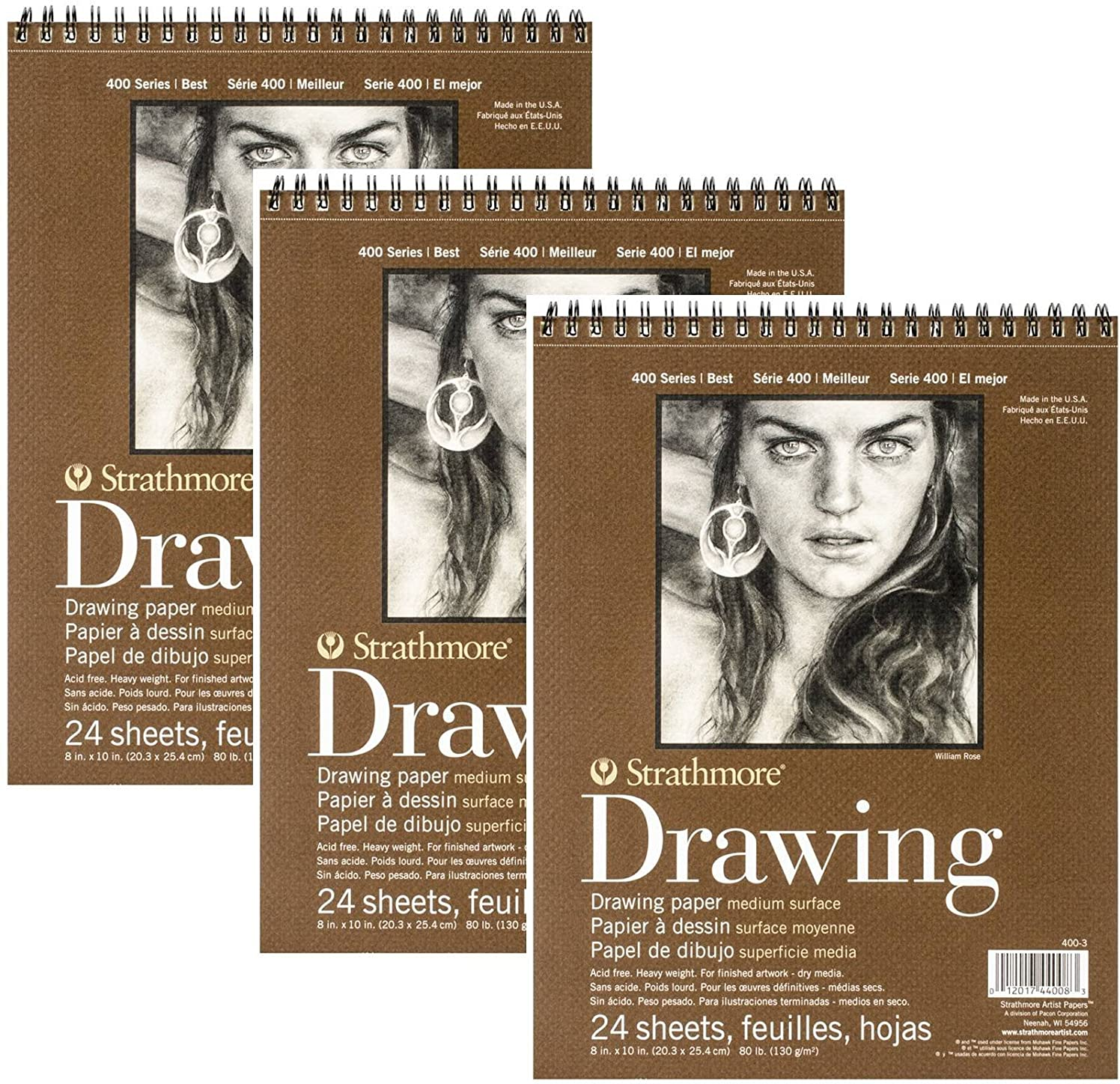 Bulk Buy: Strathmore (3-Pack) Medium Drawing Spiral Paper Pad 8in. x 10in. 24 Sheets 400300