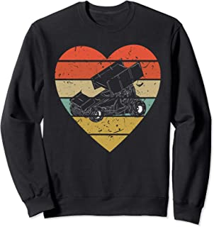 Sprint Car Racing Vintage Design Retro Racer Heart Sport Fan Sweatshirt