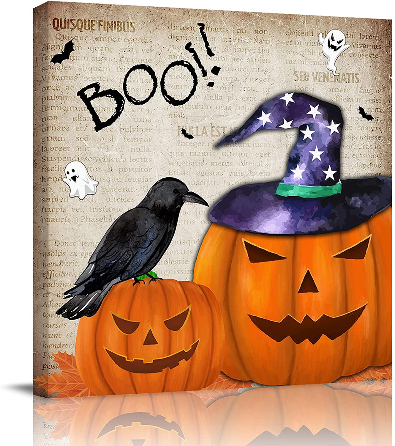 Halloween Spooky Pumpkins and Direct sale of manufacturer Newspaper Crows Background Vintage Very popular