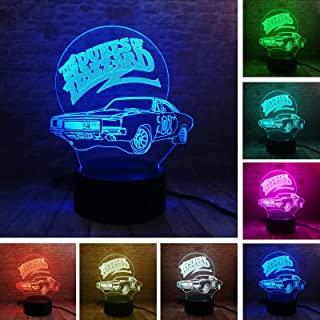 Fanrui 3D Lamp 01 AUTO The Dukes of Hazzard Car Night light Multicolor LED 7 Colors Change Smart Boys Table Luminary Child Bedroom Decor Men Kids Friends Bros Dad Christmas Birthday Holiday Toys Gifts