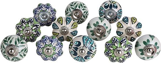 """Set of 12 Garden Green Ceramic Drawer Knobs Tomato & Melon Knobs Diameter 1.55"""" & 1.6"""" Cupboard Glass Door Knobs Dresser W..."""