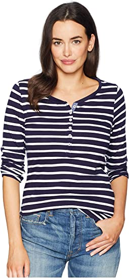 Long Button Trimmed Sleeve Striped Tee Shirt