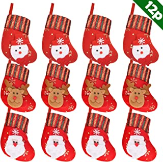 Ivenf Christmas Mini Stockings, 12 Pcs 6 inches Felt with 3D Santa Snowman, Gift Card Cutlery Bags Silverware Holders, Bulk Treats for Neighbors Coworkers Kids Cats Dogs, Small Red Xmas Tree Decor Set