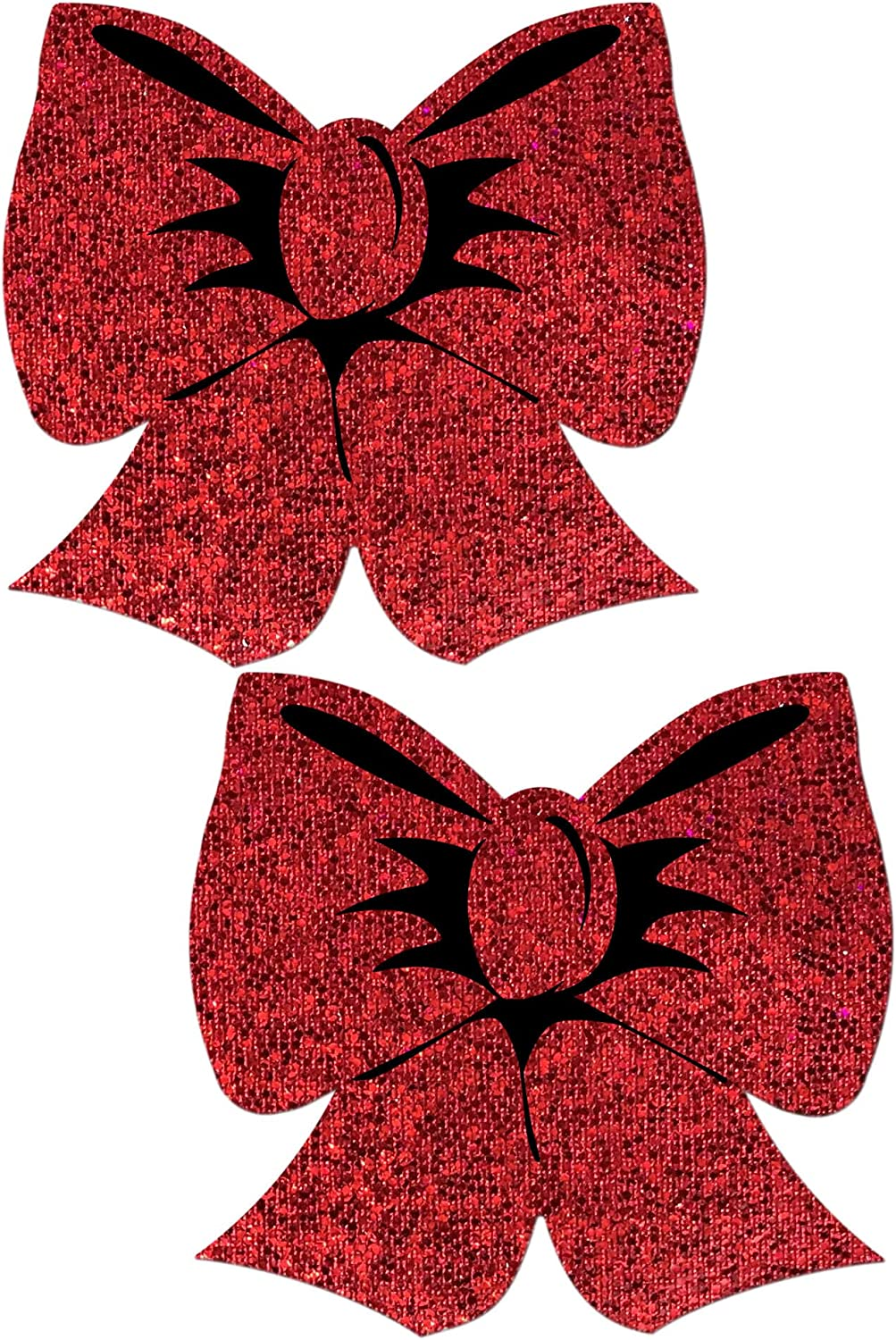 Pastease Nipple Pasties - Bow: Holographic Red Bows Nipple Pasti