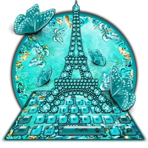 Turquoise Diamond Butterfly Keyboard Theme