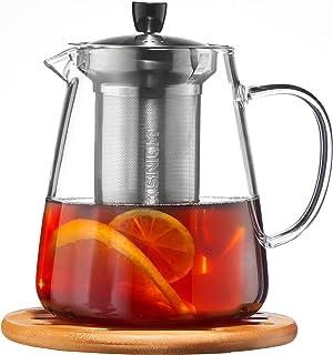 Glass Teapot with Infuser - Loose Leaf Tea Pot 32oz - Stovetop Safe Clear Tea Maker - Tea Pot Strainer for Blooming, Flowe...