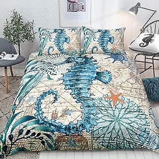 Seahorse Bedding Blue Sea Horse Duvet Cover Set Teal Marine Mediterranean Style Quilt Cover Ocean Bedding Sets King 1 Duvet Cover 2 Pillowcases (King, Seahorse)