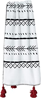 Anvi Home Big Tassel Bohemian Fleece Throw/Super Soft Boho Style Fleece Throw Looks Draped On A Chair Or Bed Lightweight Warm Elegant Cozy/Perfect to Layer with Your Bed - 50X60 Inch - Black