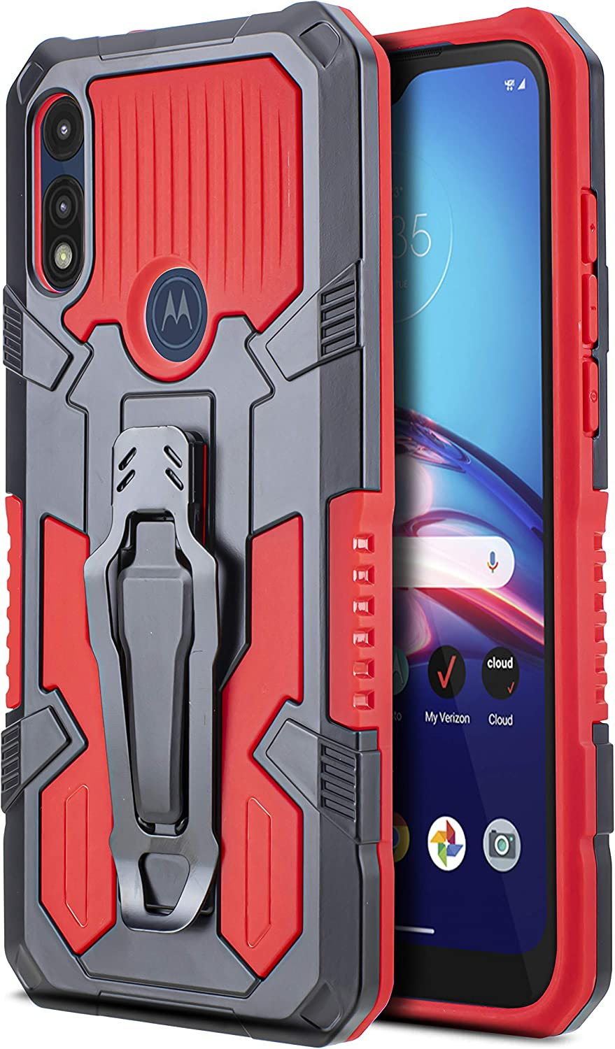 CasemartUSA Phone Case for [Motorola Moto E (2020)], [Apex Series][Red] Shockproof Cover with Belt Clip and Kickstand for Moto E (2020) T-Mobile, Metro, Boost, Consumer Cellular, Simple Mobile