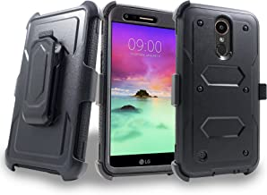 LG K20 Plus Case, Mstechcorp with Built-in [Screen Protector] Heavy Duty Full-Body Rugged Holster Armor Case [Belt Swivel Clip][Kickstand] for LG K20 Plus / K20 V, with Goodie (Black)