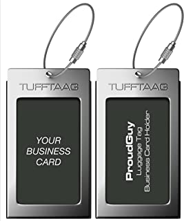 Luggage Tags Business Card Holder TUFFTAAG Pair Travel ID Bag Tag - Gunmetal