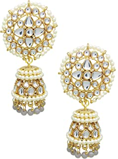 60b37dee1 Total Fashion Latest Design Stylish Antique Gold Plated Party Wear  Traditional Pearl (Grey) Jhumki